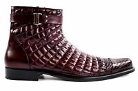 Belvedere Boot Libero Mens 100% Alligator /soft Quilted Leather Antique Wine 819