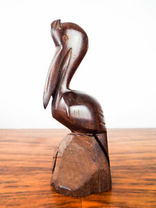 Details About Vintage Wooden Carved Pelican Sculpture Nautical Perched Bird Statue