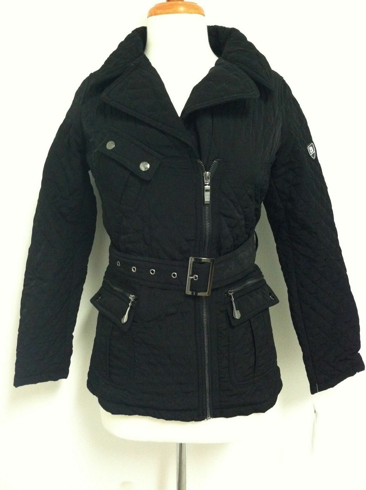 Blanc Noir Women's Quilted Black Winter Coat -- Large