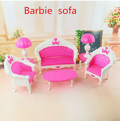 Furniture Living Room Parlour Sofa Set for Barbie Dollhouse Accessories Xmas Toy