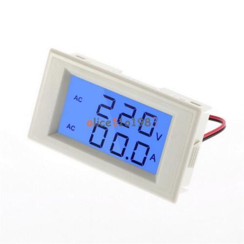 Digital Ammeter Voltmeter LCD Panel Amp Volt Meter AC 100A 300V 110V 220V White