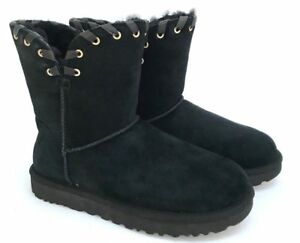 Boots Lacing Ugg Black Western Suede Feel Women's Details Classic Leather About Luxe Aidah doBCex