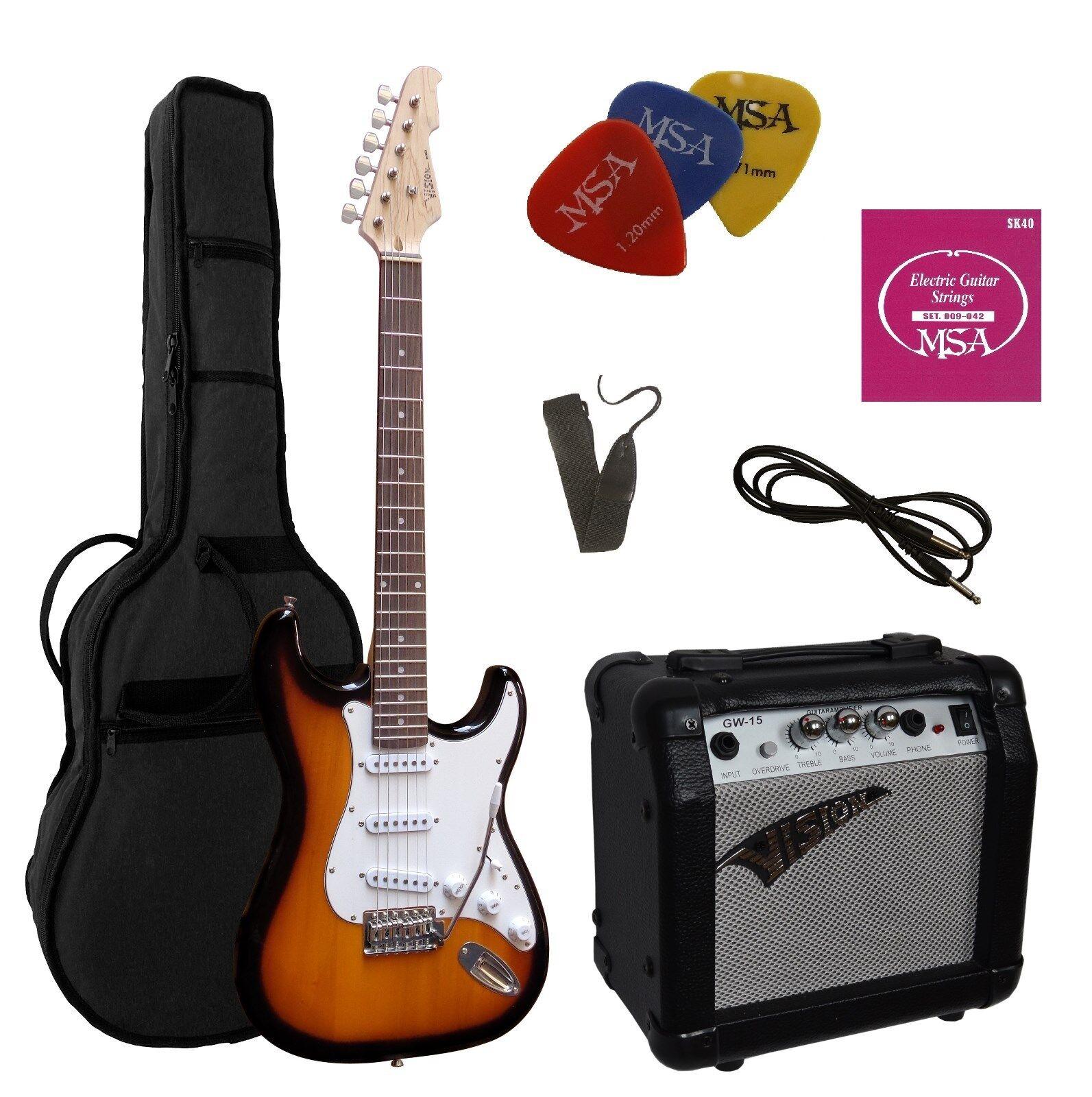 E Gitarre Set - ST5-sunburst Zubehör, Verstärker GW15,Tasche, Gurt, 3xPik,Saiten