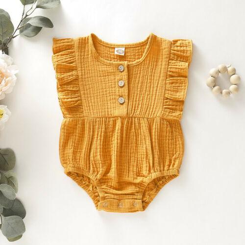 Infant Baby filles enfants solide sans manches volants Ange body été tenues