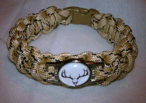Hunting Themed Deer Skull European Mount Desert Camouflage Paracord Bracelet