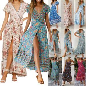 Women-Wrap-Summer-Boho-Floral-Maxi-Print-Dress-Ladies-Holiday-Beach-Kaftan-Dress