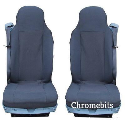 2//PAIR PREMIUM BLACK FABRIC TAILORED SEAT COVERS FOR SCANIA G P R SERIES LHD NEW