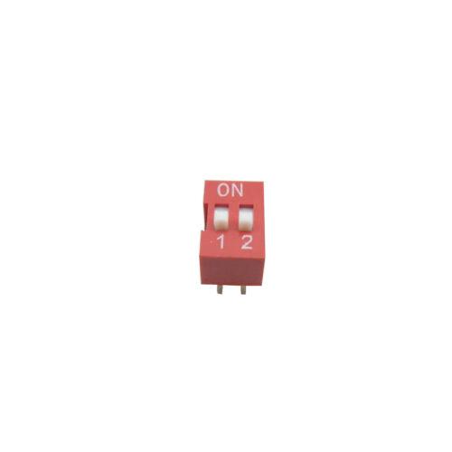 5 Teile 2 WEGE 4-polig Code Schiebe Stil DIP-Schalter PCB 2.54mm Hebung Ton rot