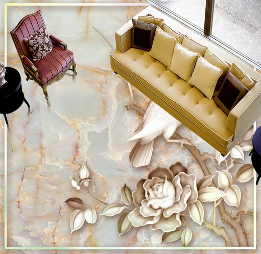 3D Marble Flower Bird 78 Floor WallPaper Murals Wall Print Decal AJ WALLPAPER US