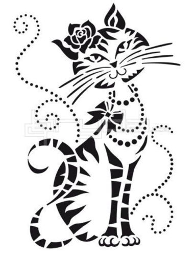 FUNKY SHE CAT RE USEABLE 190m  MYLAR STENCIL IMAGE 18 x 12cm A5