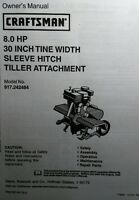 Craftsman 30 Tiller Attachment 8 Hp Sleeve Hitch Owner & Parts Manual 917.242484
