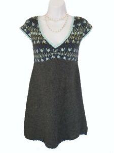 FREE PEOPLE Nordic Sweater DRESS Size XS Extra Small Gray Aqua Blue Wool Blend