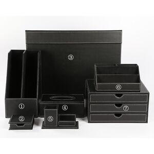 Office desk accessories 7pcs set set pu leather stationery - Leather desk organizer set ...