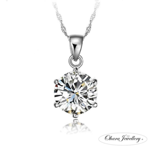 925-Sterling-Silver-Cubic-Zirconia-CZ-Chain-Necklace-Bridal-Bridesmaid-Jewellery