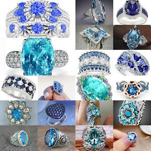 Elegant Women 925 Silver Rings For Oval Cut Aquamarine Wedding Jewelry Size 6-10
