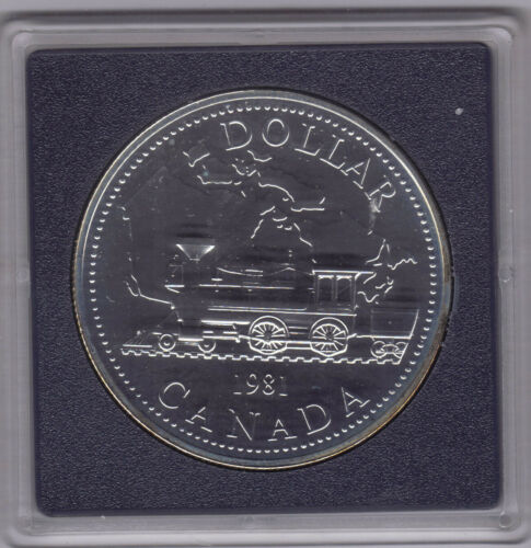 "1981 Commemorative Silver $1 /""BU//Specimen/""  **Trans-Canada Railway Centenial**"