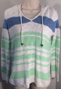 Faded-glory-white-blue-green-hoodie-striped-long-sleeve-pullover-sweater-Size-M