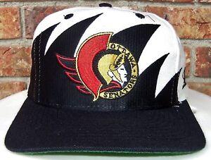 VINTAGE 90 s OTTAWA SENATORS NHL LOGO ATHLETIC SHARKTOOTH SNAPBACK ... 1781ef00ea2