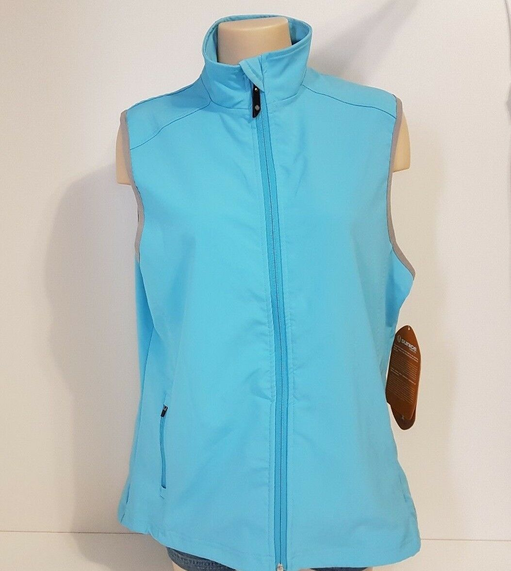 Sunice Vest Six Layers Science Sport Style Zip Front Crystal Crystal Crystal bluee Womens XL NEW a9c8e0