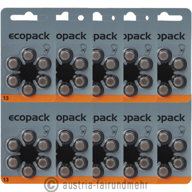 60x ECO-Pack VARTA Hörgeräte-Batterie V13 PR48 orange