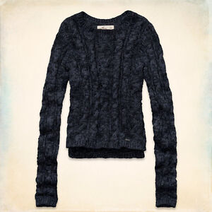 NWT-Hollister-HCO-Faria-Beach-Easy-Fit-Cable-Knit-Sweater-Shirt-Sz-M-Marbled