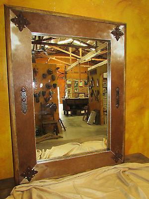 Banheiro Vanity Espelho Medalhao Pele Curtida De Animal Madeira 34x34 Rustico Cowboy Cravos Western Ebay