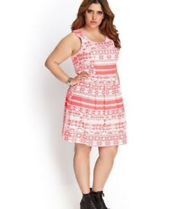 Details about New! FOREVER 21 PLUS-SIZE NEON CORAL/PINK LINEN DRESS