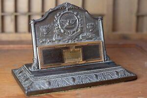 Phoenix-Assurance-London-1932-Bronze-Ink-Pen-Holder-Perpetual-Desk-Calendar