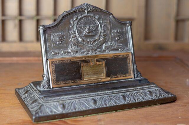 Phoenix Assurance London1932 Bronze Ink Well Pen Holder Perpetual Desk Calendar