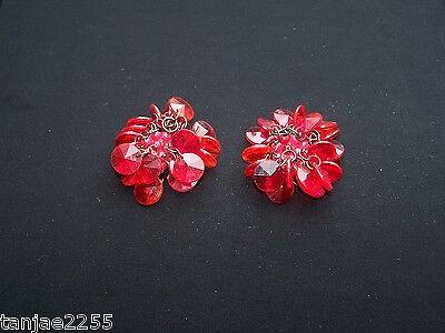 Generoso 70er Anni Orecchini Clip Vintage Rosso/rosa Bigiotteria (172)-mostra Il Titolo Originale Crease-Resistenza
