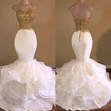White And Gold Mermaid Prom Dresses 2017 Organza Appliques Beaded Ruffle Evening