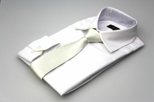 Mens White Cotton Shirt With Matching Trim Silver Grey Satin Tie All Sizes S-4XL