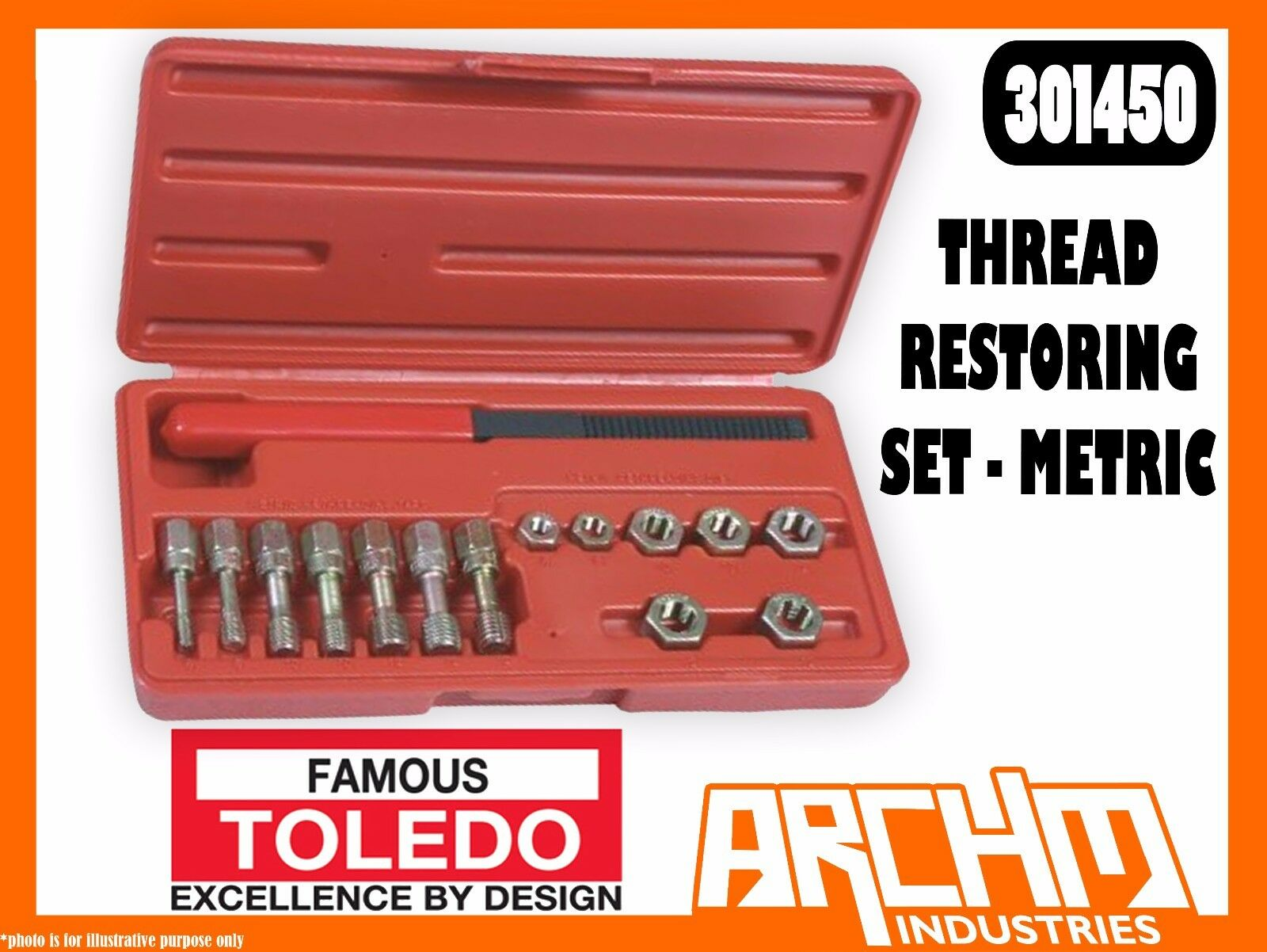 TOLEDO 301450 - THREAD RESTORING SET - METRIC - DAMAGED WORN CORRODED