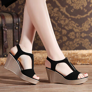 Brand-New-Women-Fashion-Casual-Zipper-Wedge-Heel-Sandals-Peep-toe-Pump-Shoes