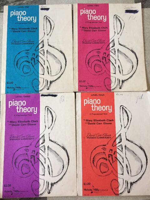 Vintage Piano Theory Books Lot Of 4 1,2,3,4 Clark/Glover