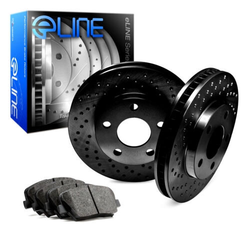 For 2004-2010 Toyota Sienna Front eLine Black Drilled Brake Rotors+Ceramic Pads