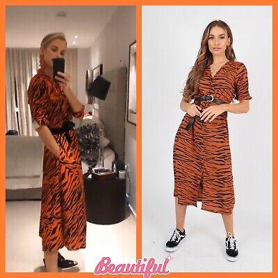 Energico Nuovo Stampa Tigre Karen Millen Allattamento Vestito Midi Taglia 8 10 12 14