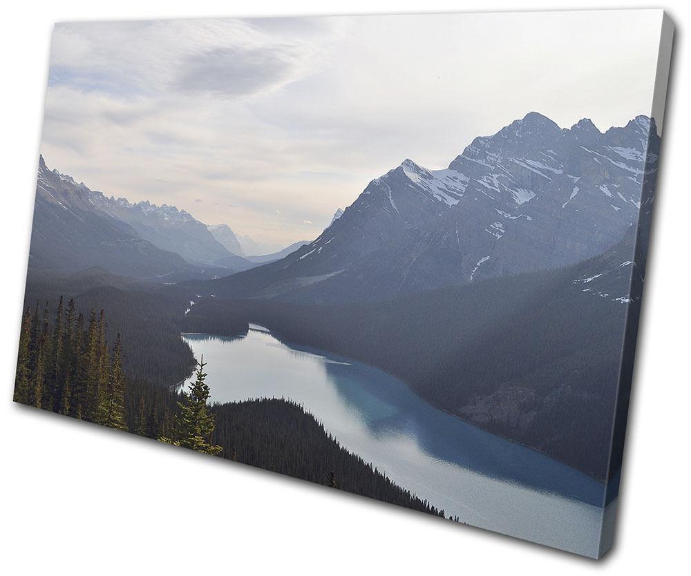 Mountain Lake Nature Landscapes SINGLE TELA parete arte foto stampa