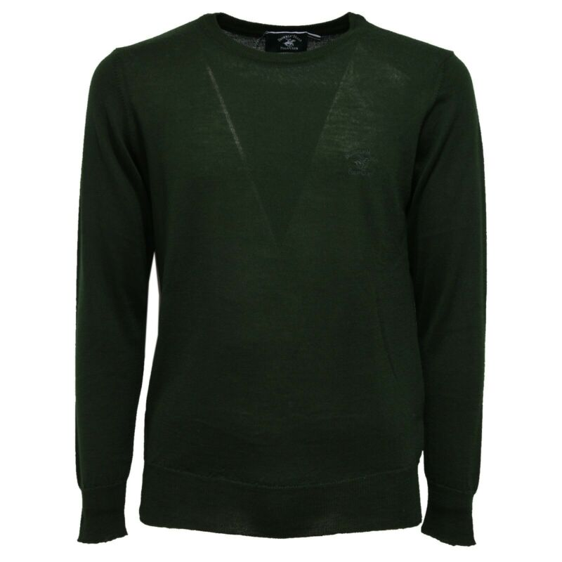 5860k Maglione Uomo Beverly Hills Polo Club Green Vintage Sweater Man