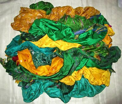 UK LOT PURE SILK Antique Vintage Sari REMNANT Fabrics 100 GRAMS Green #ABM42