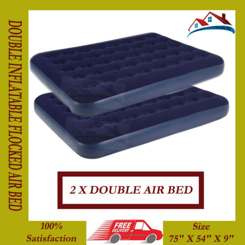 2 X RELAX INFLATABLE DOUBLE FLOCKED AIR BED CAMPING LUXURY RELAX AIRBED MATTRESS