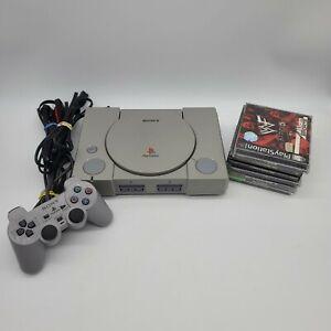 Playstation 1 PS1 Console Original Bundle Lot w/ Controller + 6 Games SCPH-7501