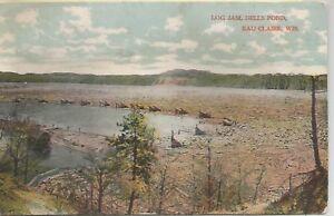 Eau Claire Wisconsin Dells Pond Log Jam Antique Postcard