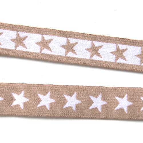 Gummibänder mit Sternen Gummiband Beige Weiße Sterne 20 mm breit