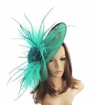 Proms With Headband A12 Ascot Peacock Green Fascinator  Hat for Weddings