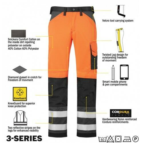 Snickers 3333 alta visibilidad pantalones de Trabajo Snickers Directa NARANJA