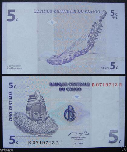 CONGO Paper Money 5 CENTIMES 1997 UNC