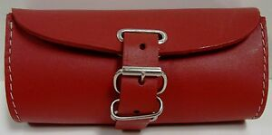 Leather-Bicycle-Bike-Handlebar-Seat-Bag-With-Buckles-Red-NEW-Hand-Made-Pack