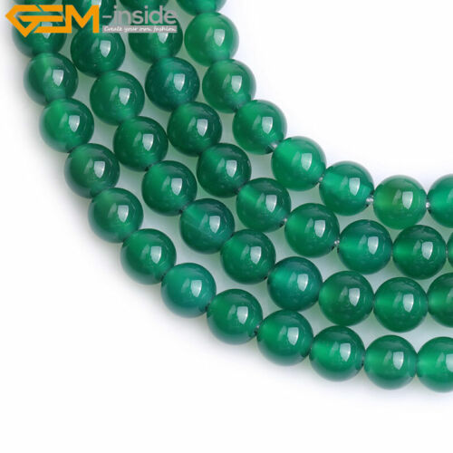 """Natural Round Green Agate Beads For Jewelry Making Strand 15/"""" Big Hole Wholesale"""