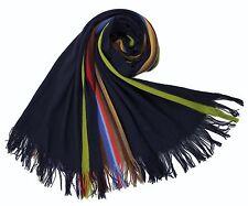 XXL Strickschal aus 100% Merinowolle mit Fransen schwarz mit bunten Streifen